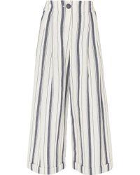 Rejina Pyo - Dylan Cropped Striped Wide-leg Cotton-chambray Trousers - Lyst