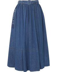 Prada Belted Printed Denim Midi Skirt - Blue