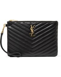 Saint Laurent - Monogramme Quilted Leather Pouch - Lyst