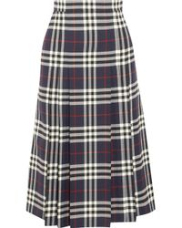 Burberry - Pleated Checked Wool Midi Skirt - Lyst