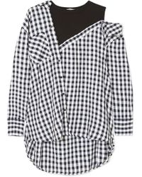 42de590992d68 Maje - Layered Gingham Crepe And Cotton-blend Jersey Blouse - Lyst