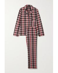 DKNY Karierter Pyjama Aus Fleece - Rot