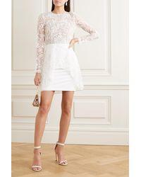 Rime Arodaky Sansa Rückenfreies Minikleid Aus Spitze Und Crêpe - Weiß