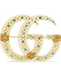 Gucci Goldfarbene Brosche Mit Harz Und Kristallen - Mettallic