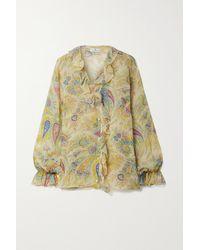 Etro Ruffled Printed Silk-crepon Blouse - Yellow