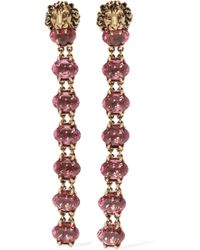 Gucci - Gold-tone Crystal Clip Earrings - Lyst
