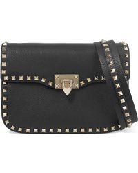 Valentino Garavani Valentino Garavani The Rockstud Textured-leather Shoulder Bag - Black