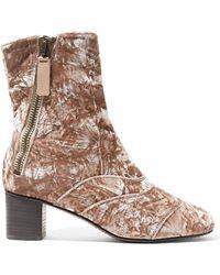 Chloé - Lexie Crushed-velvet Ankle Boots - Lyst