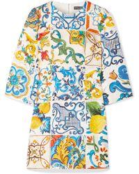 Dolce & Gabbana - Printed Cotton And Silk-blend Brocade Mini Dress - Lyst