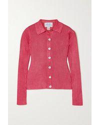 Calle Del Mar Ribbed-knit Shirt - Pink