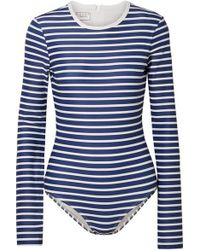 Cover Striped Swimsuit - Blue