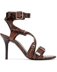 Chloé - Scottie Snake-effect Leather Sandals - Lyst