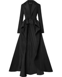 Brandon Maxwell Silk-faille Peplum Jacket - Black