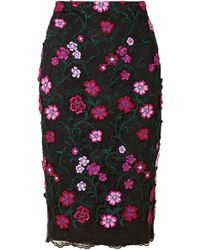 Lela Rose - Appliquéd Embroidered Lace Skirt - Lyst