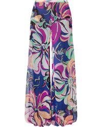 Emilio Pucci - Aruba Printed Silk-georgette Wide-leg Pants - Lyst