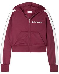 Palm Angels - Cropped Striped Satin-jersey Hoodie - Lyst