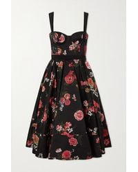 Brock Collection Tessa Faille-trimmed Pleated Floral-jacquard Midi Dress - Black