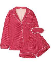 Eberjey - Sleep Chic Printed Stretch-jersey Pajama Set - Lyst
