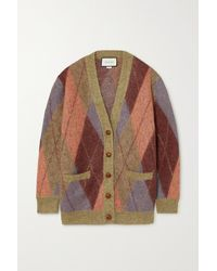 Gucci - Oversized Argyle Mohair-blend Cardigan - Lyst