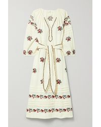 The Great The Prairieland Belted Embroidered Cotton And Linen-blend Midi Dress - White