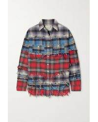 R13 Pieced Distressed Checked Cotton-flannel Shirt - Blue