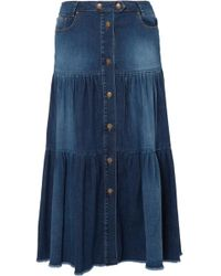 RED Valentino - Tiered Denim Midi Skirt - Lyst