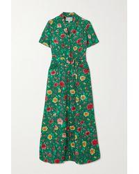 HVN Robe-chemise Longue En Soie À Imprimé Fleuri Et À Ceinture Maria - Vert