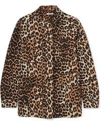 Ganni - Camberwell Leopard-print Linen-blend Canvas Jacket - Lyst