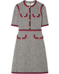 Gucci Web-trimmed Cotton Dress - Gray