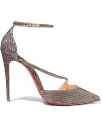 Christian Louboutin - Fliketta 100 Glittered Canvas Court Shoes - Lyst