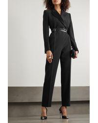 Alexander McQueen Satin-trimmed Crepe Jumpsuit - Black