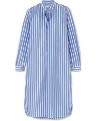 Charvet Striped Cotton-poplin Nightdress - Blue