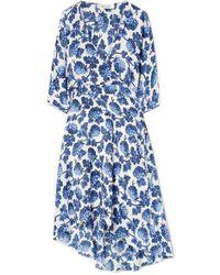 Diane von Furstenberg - Eloise Asymmetric Printed Silk Crepe De Chine Wrap Dress - Lyst