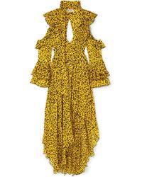 Diane von Furstenberg - Ruffle Long-sleeve Printed High-low Maxi Dress - Lyst