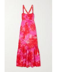 Honorine Robe Longue En Lin Tie & Dye Athena - Rouge