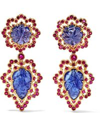 Buccellati - 18-karat Gold, Tanzanite And Ruby Earrings - Lyst