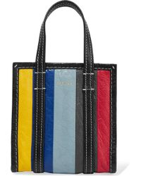 Balenciaga - Bazar Xxs Striped Textured-leather Tote - Lyst