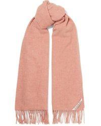 Acne Studios Canada Fringed Mélange Wool Scarf - Pink