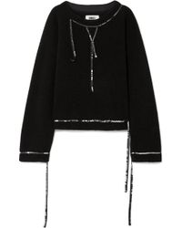 MM6 by Maison Martin Margiela - Sequin Trimmed Fleece Jumper - Lyst