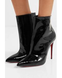Christian Louboutin New So Kate 100 Patent Leather Boots/booties - Black