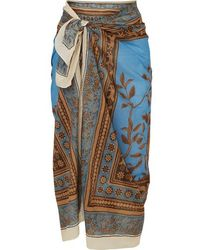 Johanna Ortiz Welcome To The Jungle Printed Cotton-voile Pareo - Blue