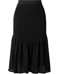Jonathan Simkhai - Smocked Stretch Cotton-blend Midi Skirt - Lyst
