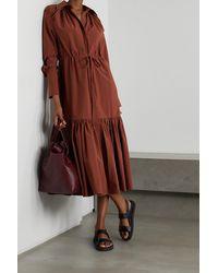 Deveaux Samira Tiered Cotton-poplin Midi Shirt Dress - Brown