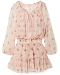 LoveShackFancy - Popover Ruffled Metallic Floral-print Silk-blend Crepon Mini Dress - Lyst