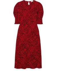 RIXO London Jess Animal-print Crepe Midi Dress - Red
