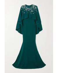 Jenny Packham Embellished Cape-effect Crepe Gown - Green