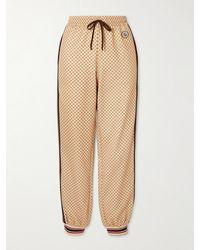 Gucci Pantalon De Survêtement En Jersey Technique Imprimé À Rayures Et À Appliqué - Neutre