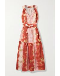 Anna Mason Belted Metallic Tie-dyed Linen Midi Dress - Pink