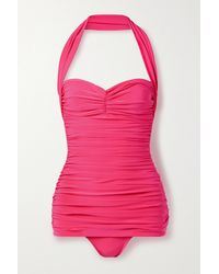 Norma Kamali Bill Mio Ruched Halterneck Swimsuit - Pink