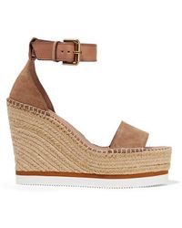 See By Chloé Suede And Leather Espadrille Wedge Sandals - Natural